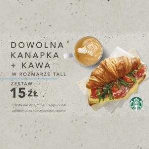 STARBUCKS: kanapka + kawa w cenie 15 zł