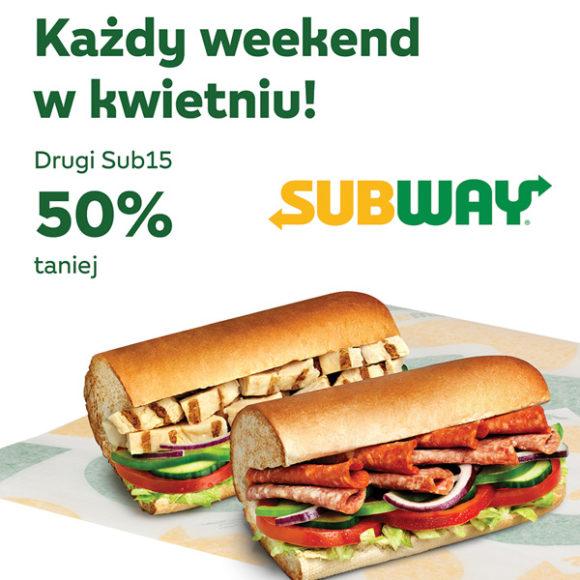 SUBWAY: drugi sub15 -50%